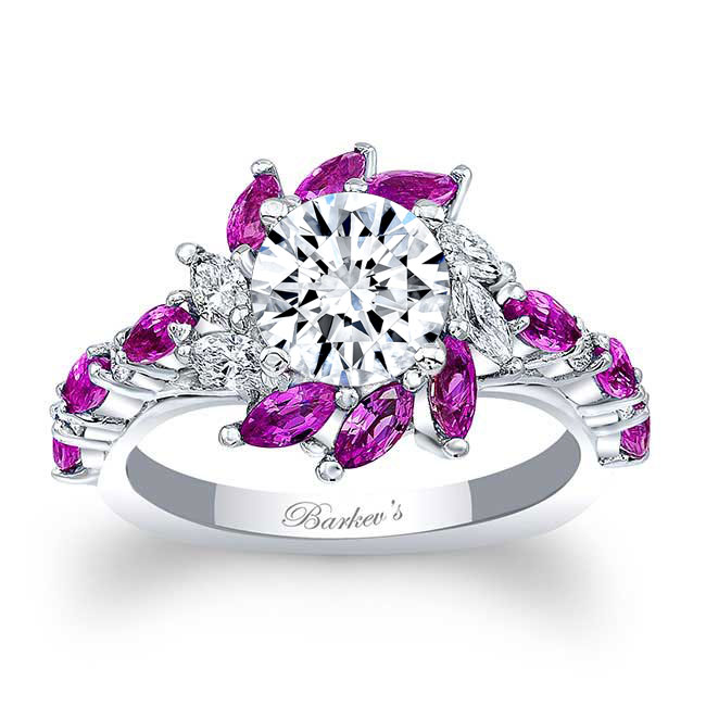 Pink Sapphire Sunflower Engagement Ring Image 1