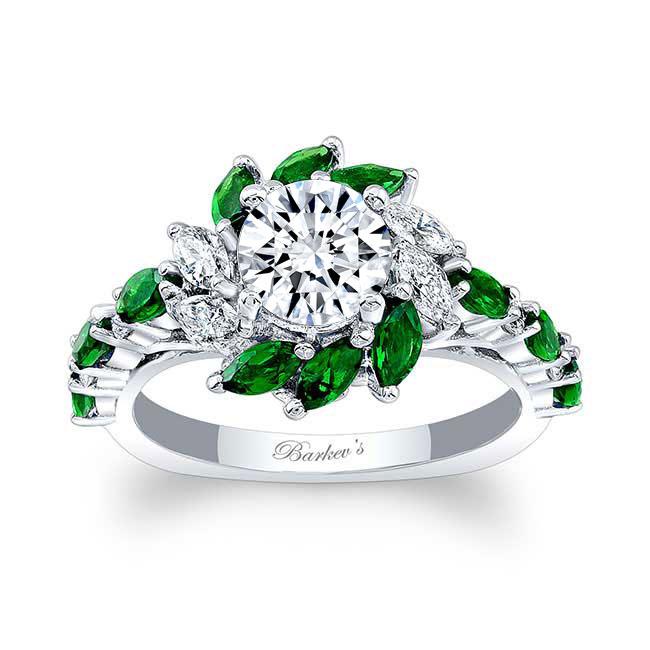 Tsavorite Sunflower Engagement Ring Image 1