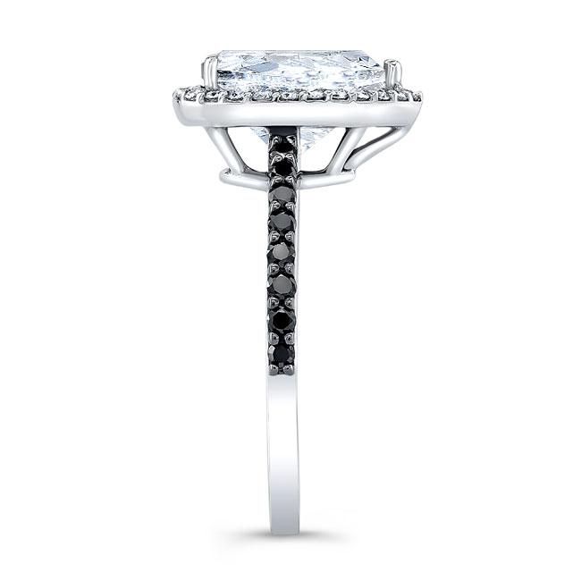 Pear Shape Moissanite and Black Diamond Engagement Ring MOI-7994LBK Image 3