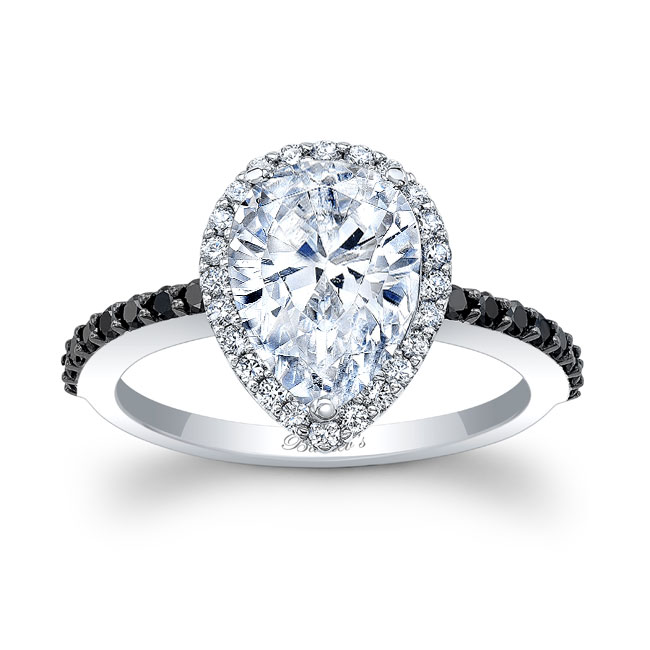 Pear Shape Moissanite and Black Diamond Engagement Ring MOI-7994LBK Image 1