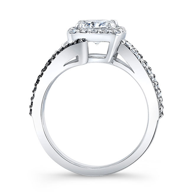 Black Diamond Cushion Cut Engagement Ring 8005LBK Image 2