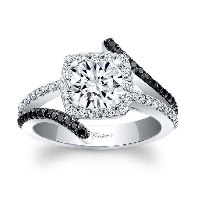 Black Diamond Cushion Cut Engagement Ring 8005LBK Image 1