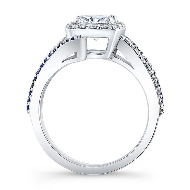 Blue Sapphire Cushion Cut Engagement Ring 8005LBS Image 2