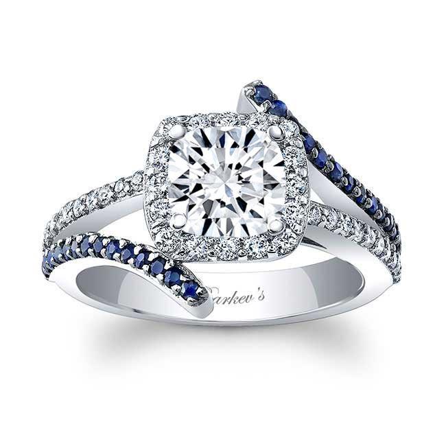 Blue Sapphire Cushion Cut Moissanite Engagement Ring MOI-8005LBS