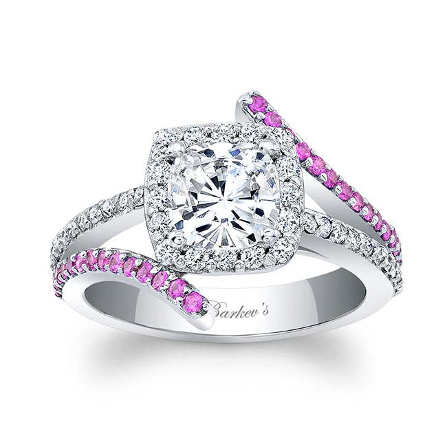 Pink Sapphire Cushion Cut Engagement Ring 8005LPS Image 1