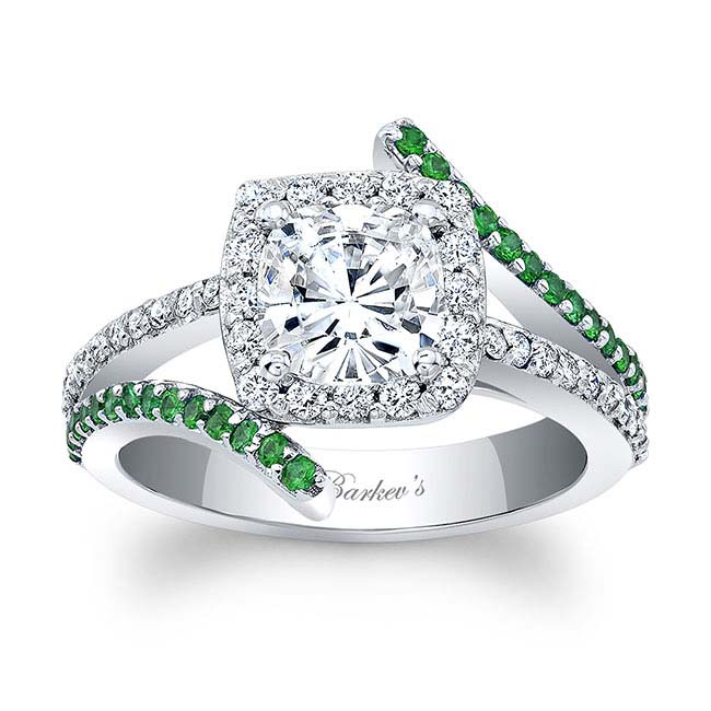 Tsavorite Cushion Cut Moissanite Engagement Ring MOI-8005LTSV