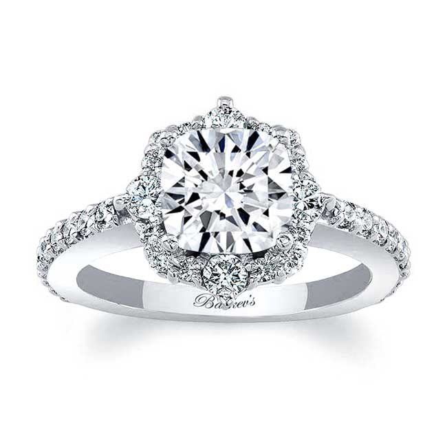 Cushion Cut Moissanite Halo Diamond Ring