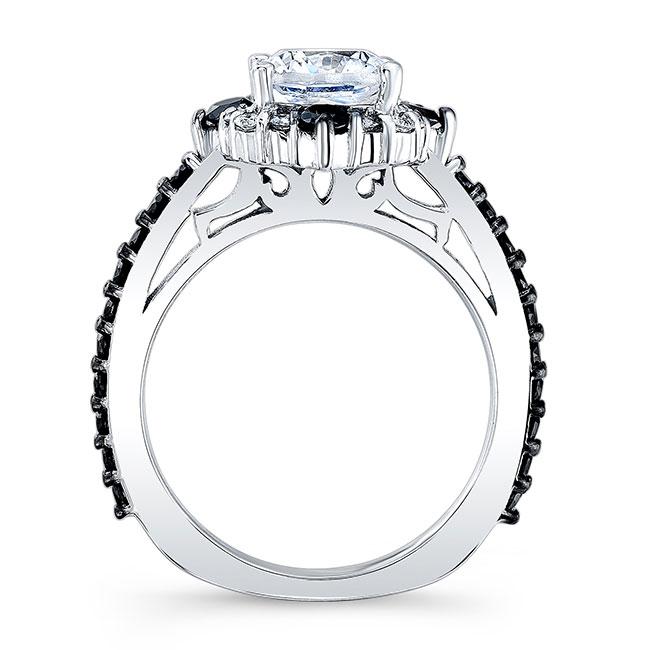 Cushion Cut Halo Black And White Diamond Ring Image 2