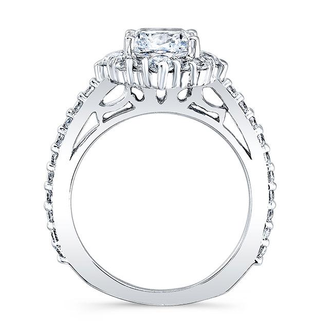 Cushion Cut Moissanite Halo Diamond Set With 2 Bands Image 2