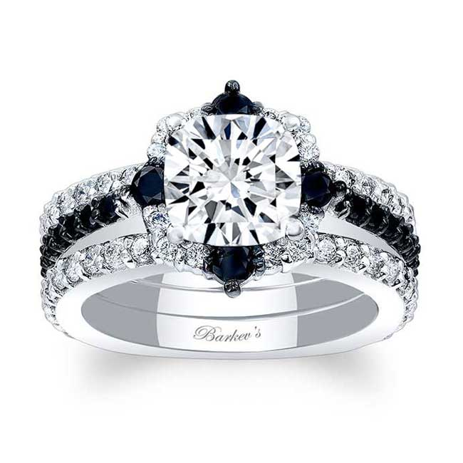 Cushion Cut Halo Black Diamond Accent Set With 2 Bands Image 1