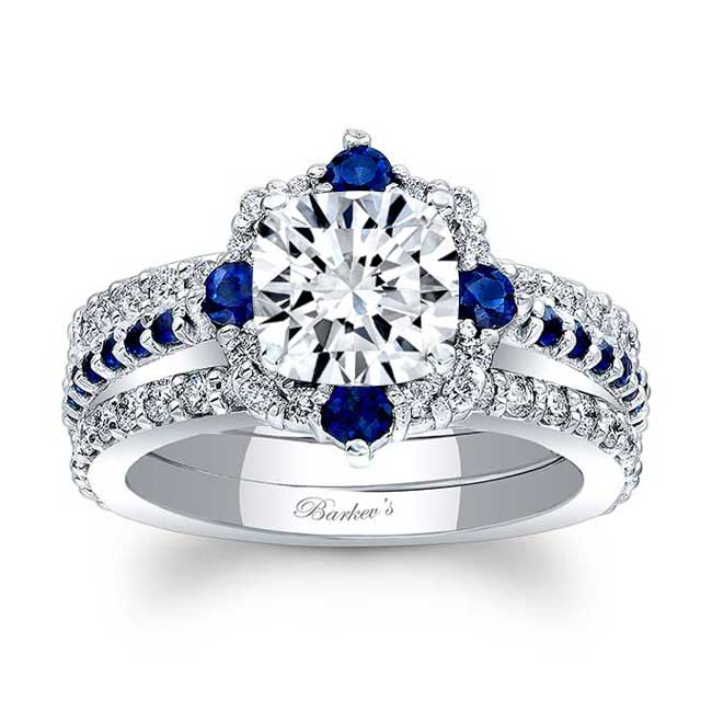 Cushion Cut Halo Sapphire And Diamond Set With 2 Bands