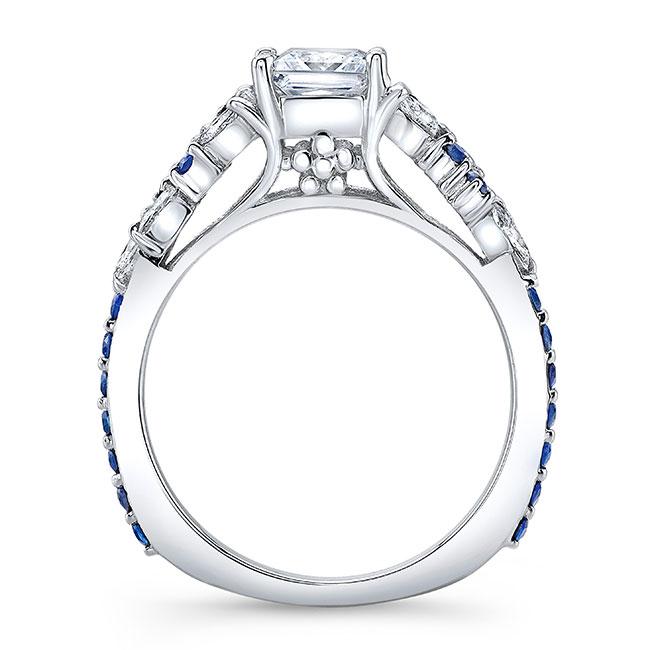 White Gold Sapphire Princess Cut Moissanite Engagement Ring Image 2
