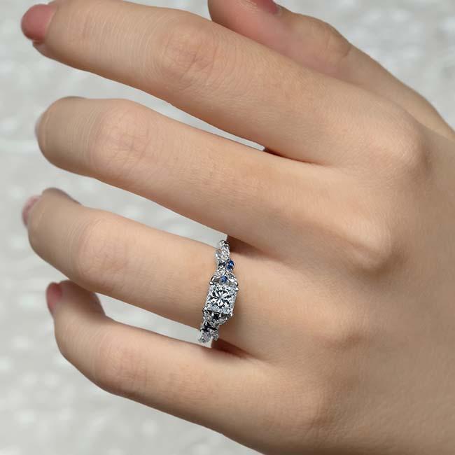 White Gold Sapphire Princess Cut Engagement Ring Image 4