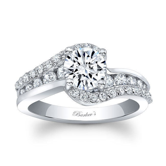Curved Moissanite Engagement Ring