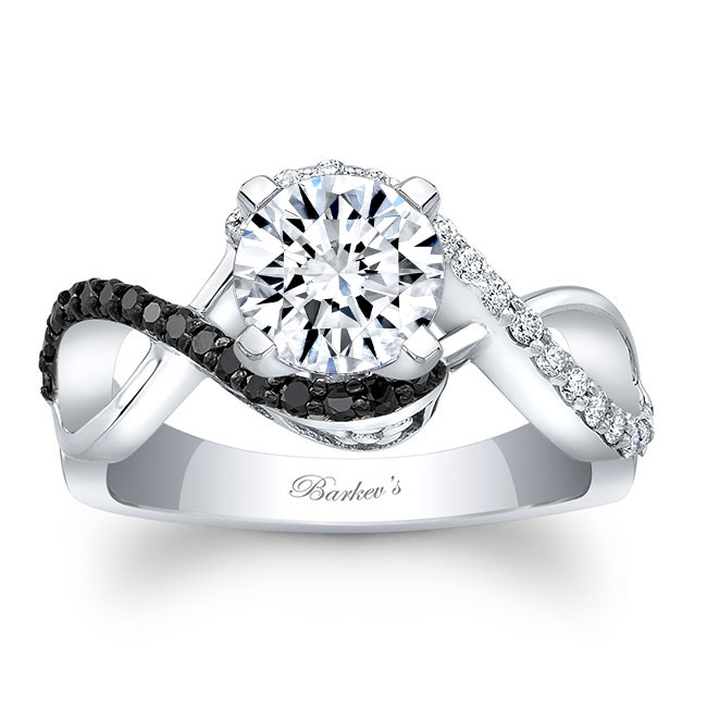Black Diamond Infinity Twist Engagement Ring Image 1