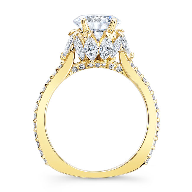 Moissanite Engagement Ring With Marquise Stones MOI-8023L Image 2