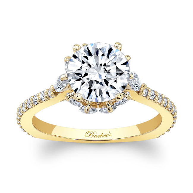 Moissanite Engagement Ring With Marquise Stones MOI-8023L Image 1