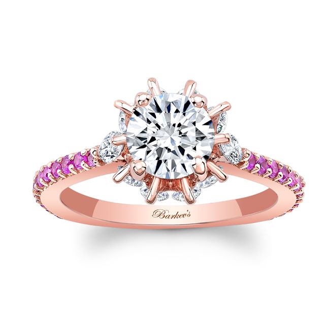 Pink Sapphire Rose Gold Moissanite Engagement Ring MOI-8023LPS Image 1