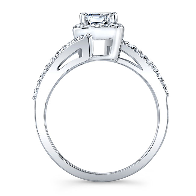 Emerald Cut Halo Engagement Ring Image 2