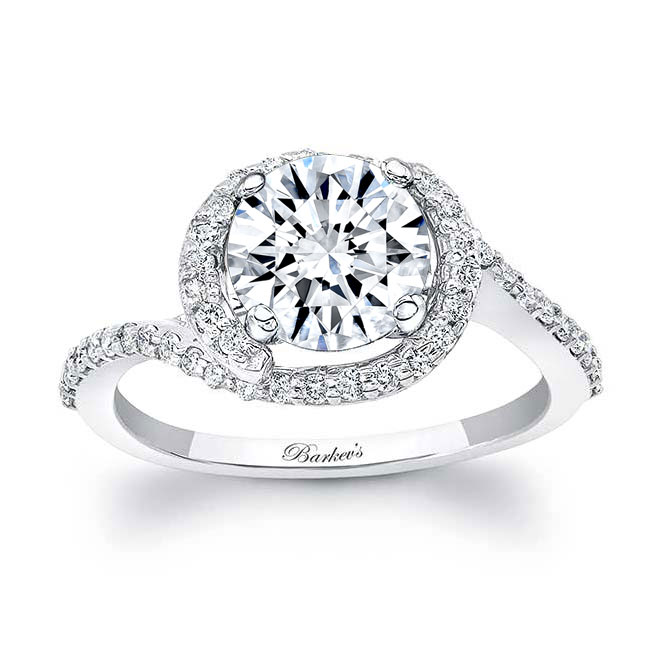 Half Halo Moissanite Engagement Ring