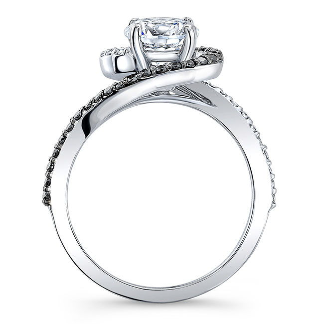 Black Diamond Half Halo Engagement Ring Image 2