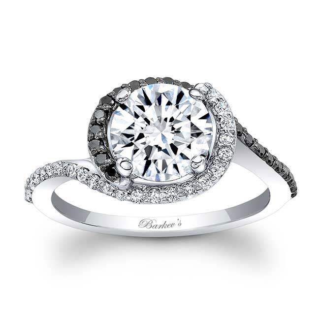 Black Diamond Half Halo Moissanite Engagement Ring