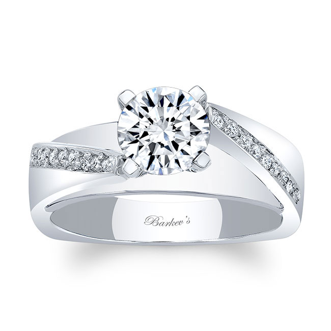 Split Shank Pave Moissanite Engagement Ring