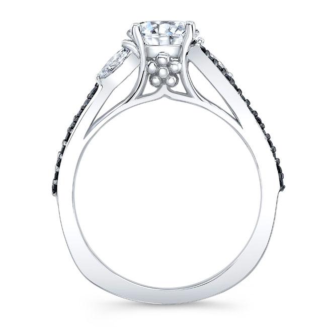 Split Shank Black And White Diamond Ring Image 2