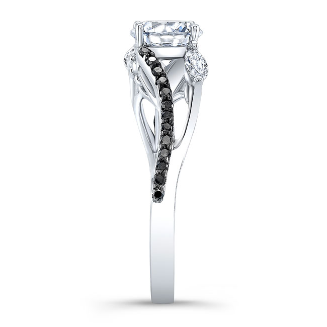 Split Shank Black And White Diamond Ring Image 3