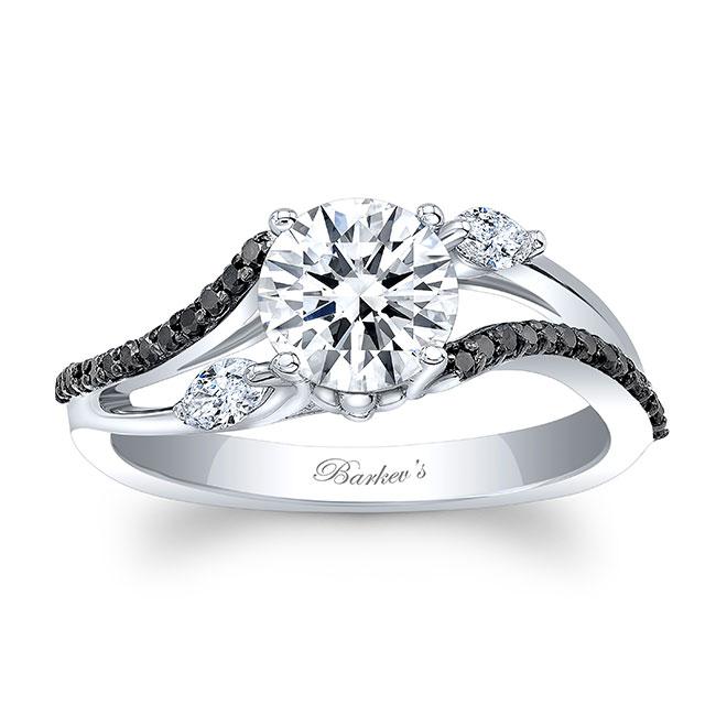 Split Shank Moissanite And Black Diamond Ring