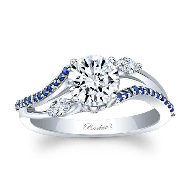 Split Shank Moissanite And Sapphire Ring