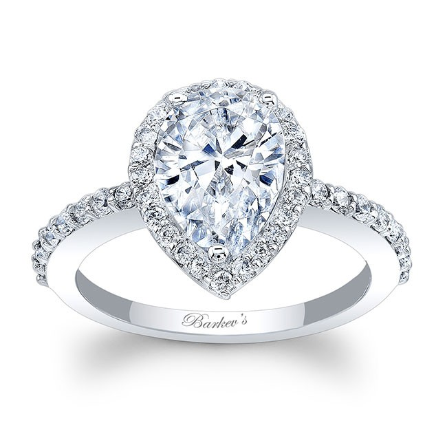 White Gold Pear Shaped Ring 8061L