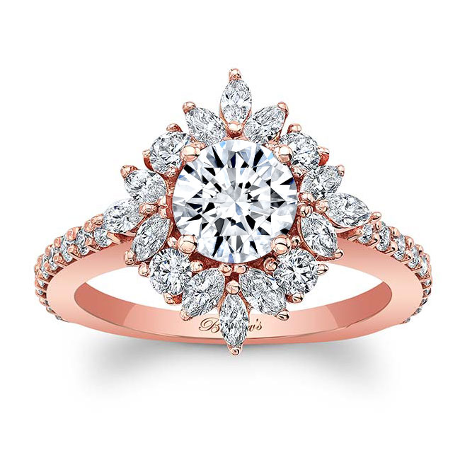 Marquise Halo Moissanite Engagement Ring