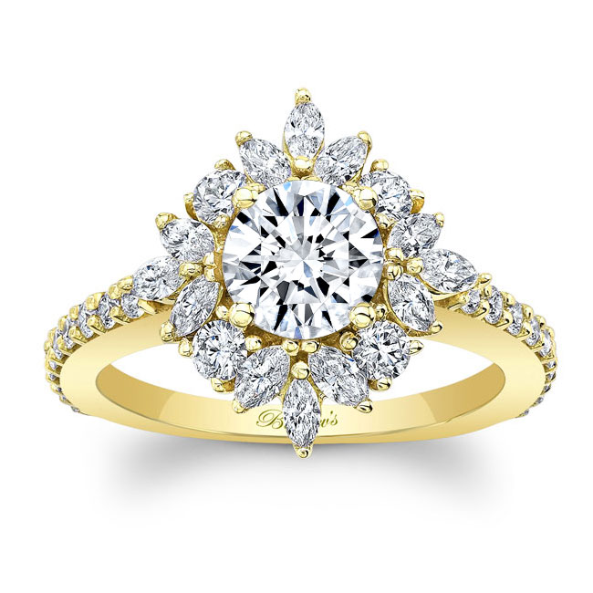 Marquise Halo Moissanite Engagement Ring Image 1
