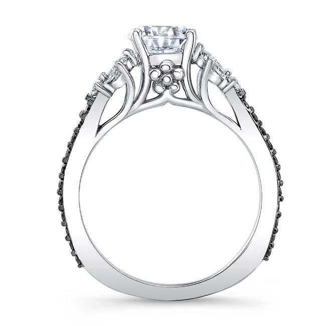 Black And White Diamond Leaf Moissanite Ring Image 2