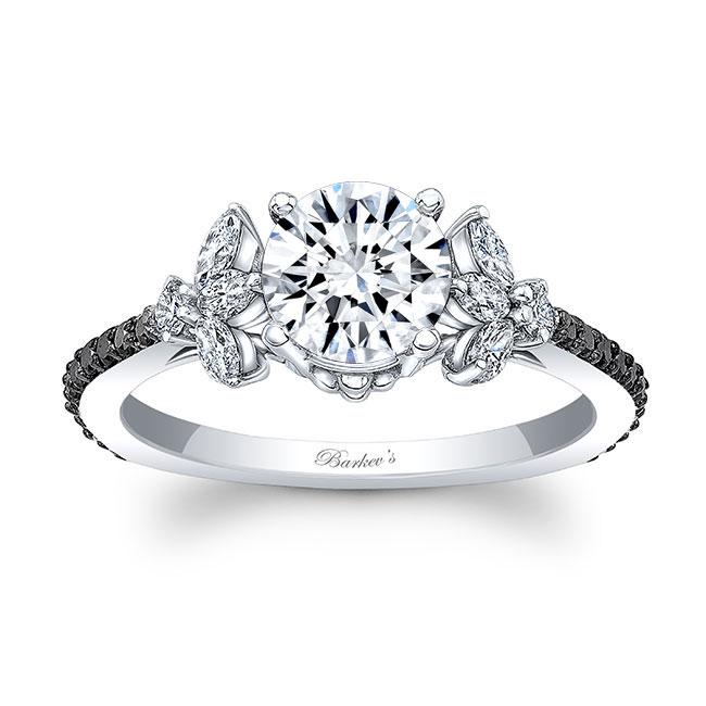 Black And White Diamond Leaf Moissanite Ring Image 1