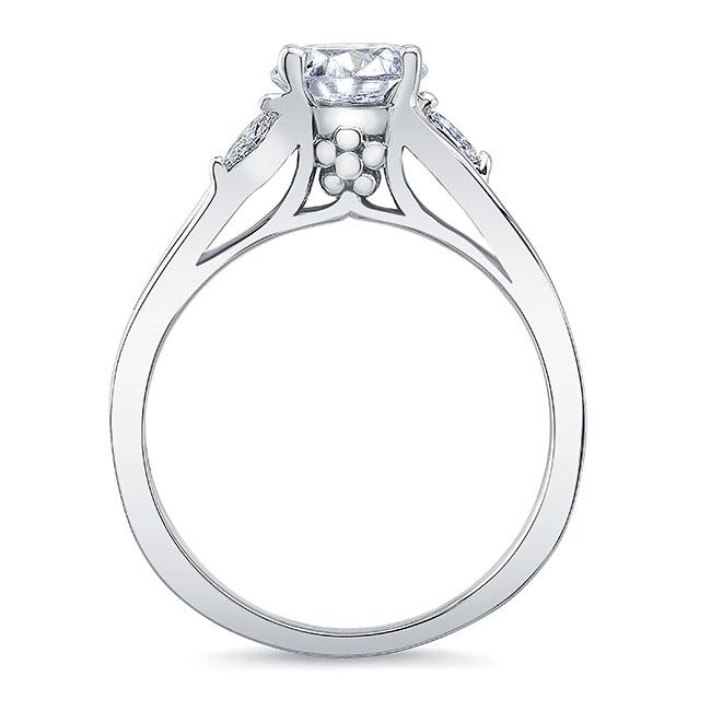 V Shaped Moissanite And Diamond Ring Image 2