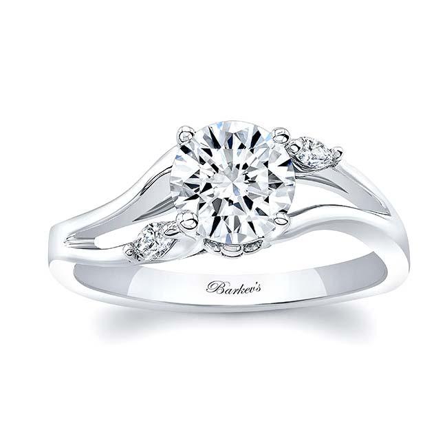 V Shaped Moissanite And Diamond Ring