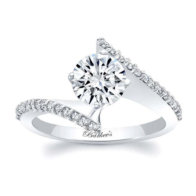 Modern Bypass Moissanite Engagement Ring