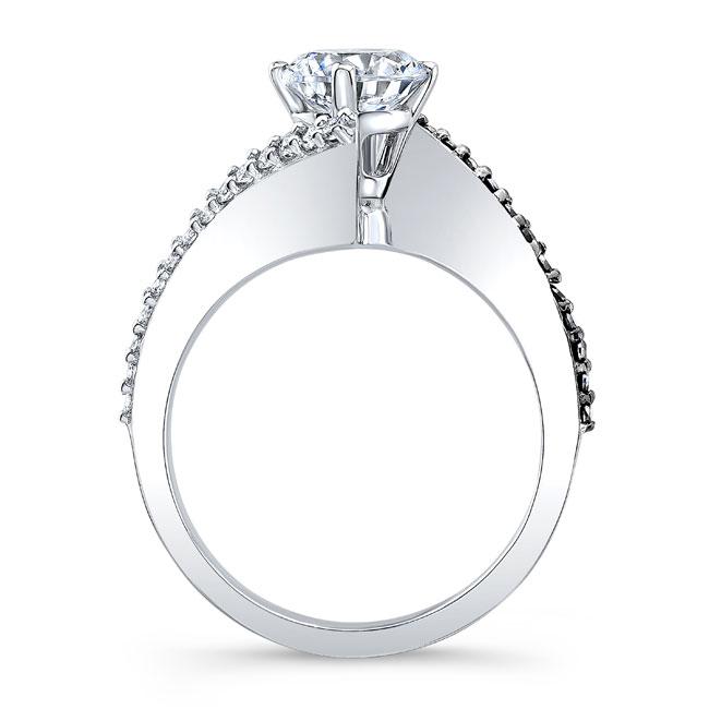 Modern Bypass Black Diamond Moissanite Ring Image 2