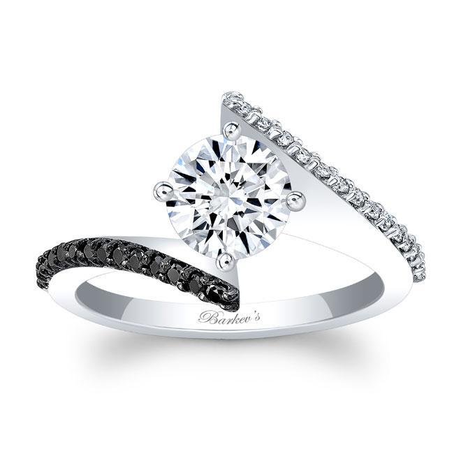 Modern Bypass Black Diamond Moissanite Ring