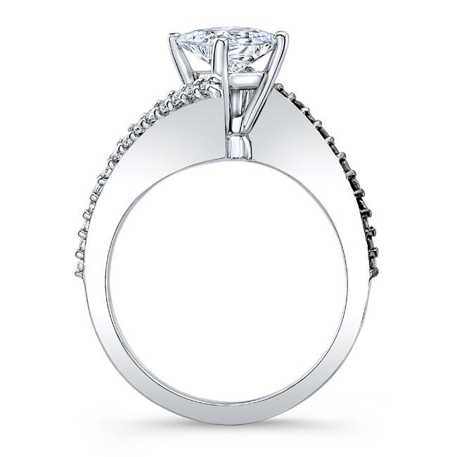 Black Diamond Princess Cut Bypass Ring Image 2