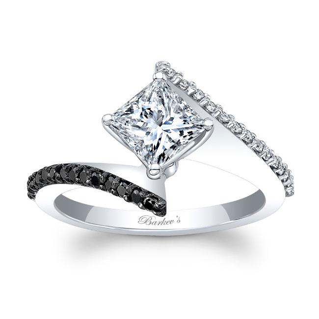 Black Diamond Princess Cut Moissanite Bypass Ring