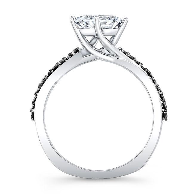 Black Diamond Accent Princess Cut Twist Ring Image 2