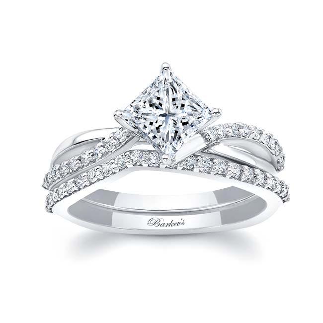 Princess Cut Moissanite Twist Bridal Set Image 1