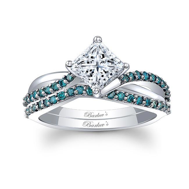 Princess Cut Moissanite Blue Diamond Accent Twist Ring Set