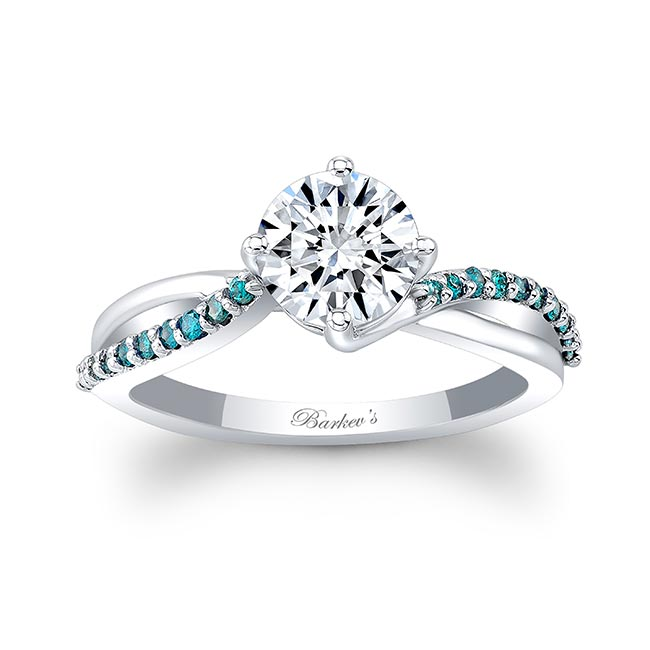 Blue Diamond Moissanite Twist Engagement Ring