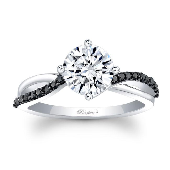 Black Diamond Moissanite Twist Engagement Ring