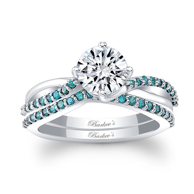 Blue Diamond Moissanite Twist Bridal Set