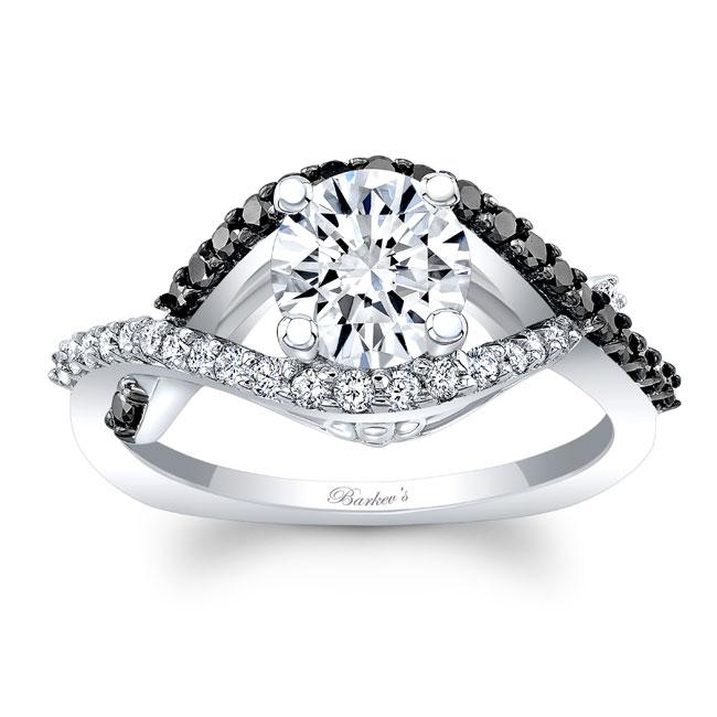 White Gold Engagement Ring With Black Diamonds 8080LBK